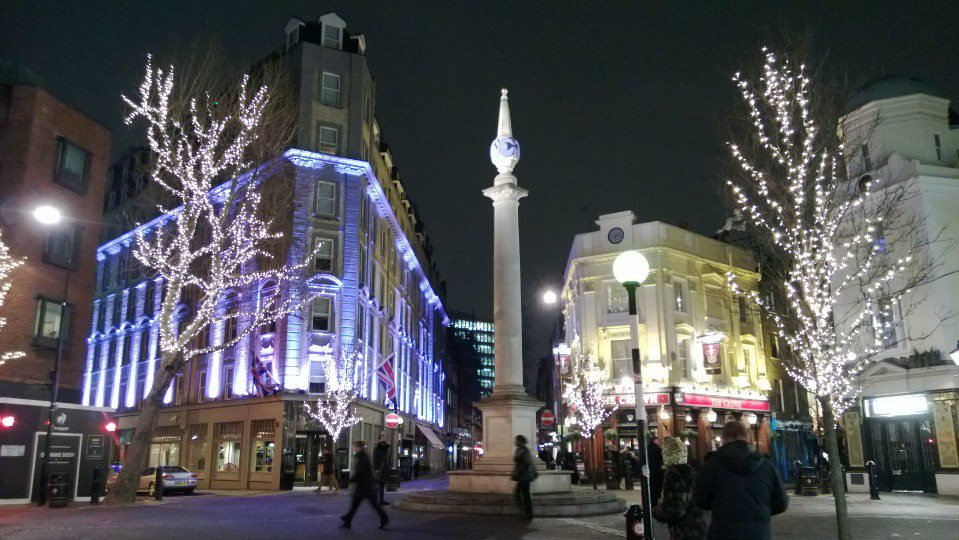 I stumbled across Seven Dials on my way back to the hotel from dinner. It dates back to the 1700's.