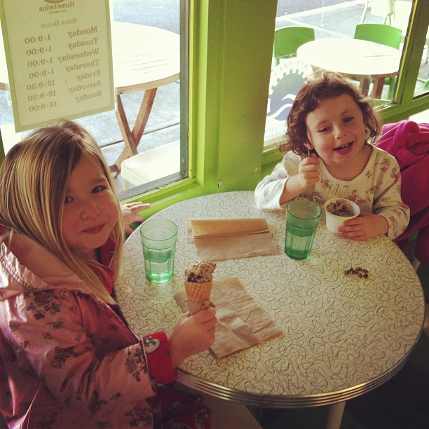 Capping off Pajama Day at school with an ice cream and a play date.